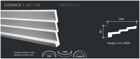 Poliuretaniniai lubų apvadai 1.50.145 , ilgis 2m